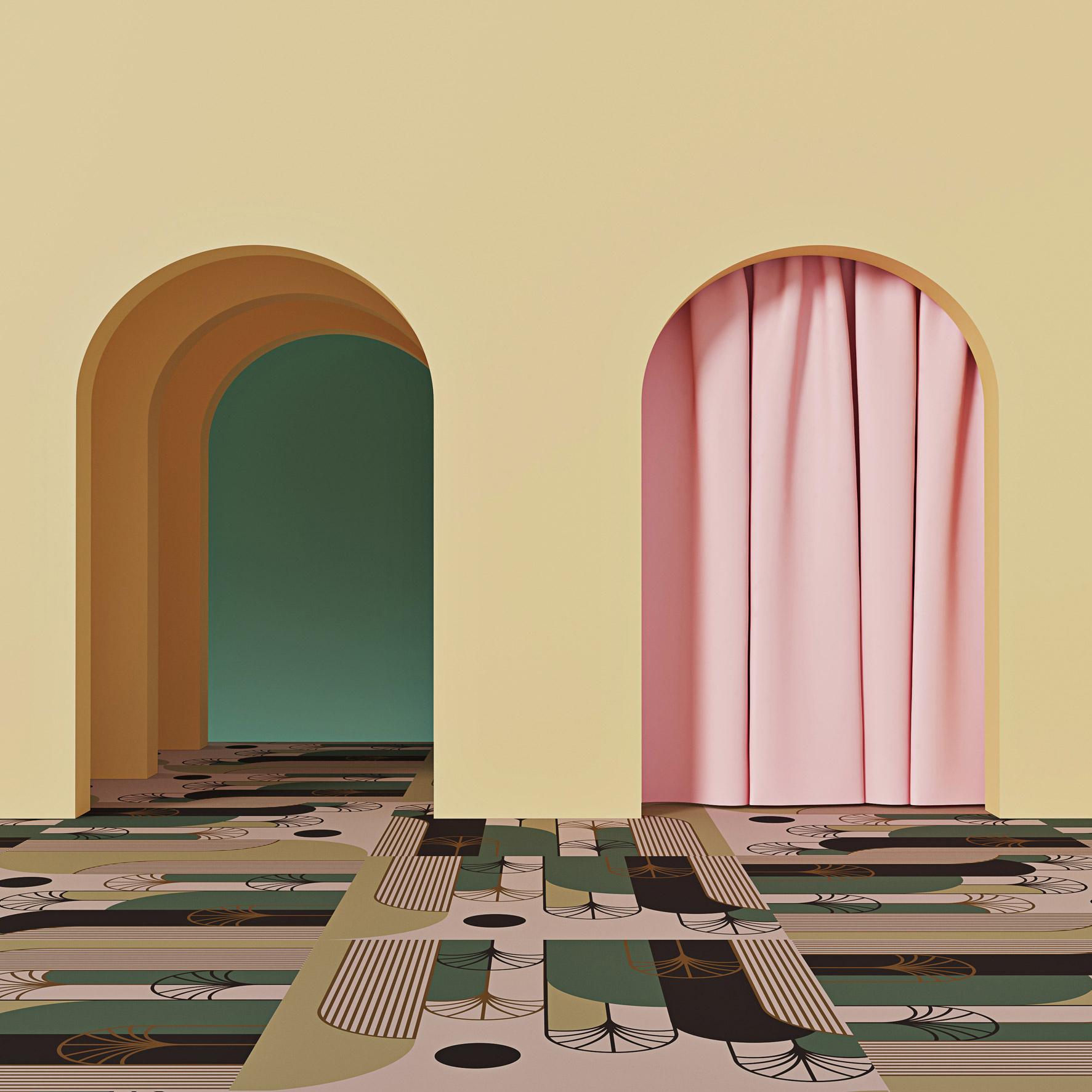 Pink Palms carpet by Talk Carpet