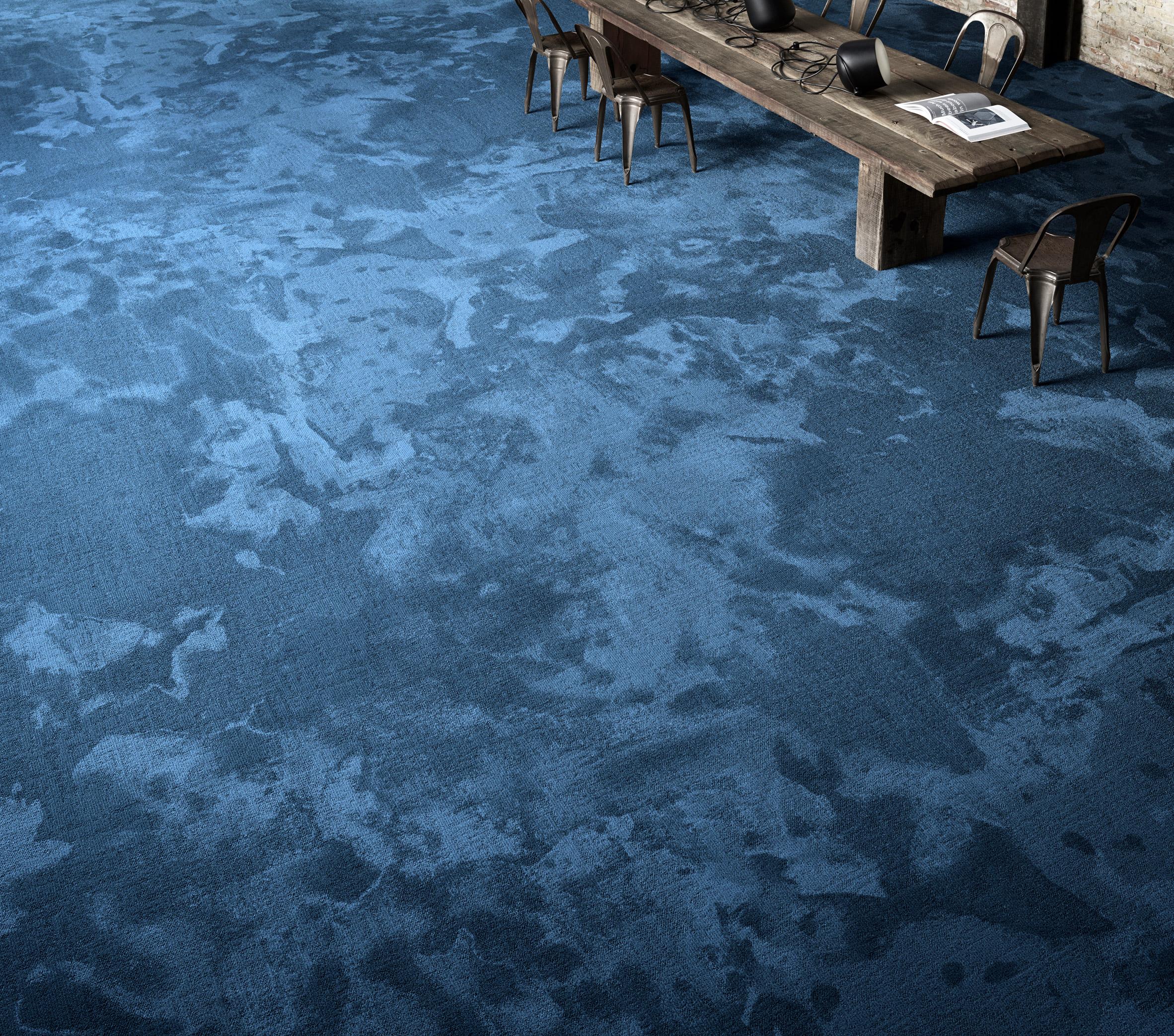 A marble-look blue carpet