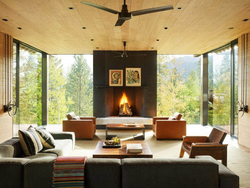 US home with large black fireplace
