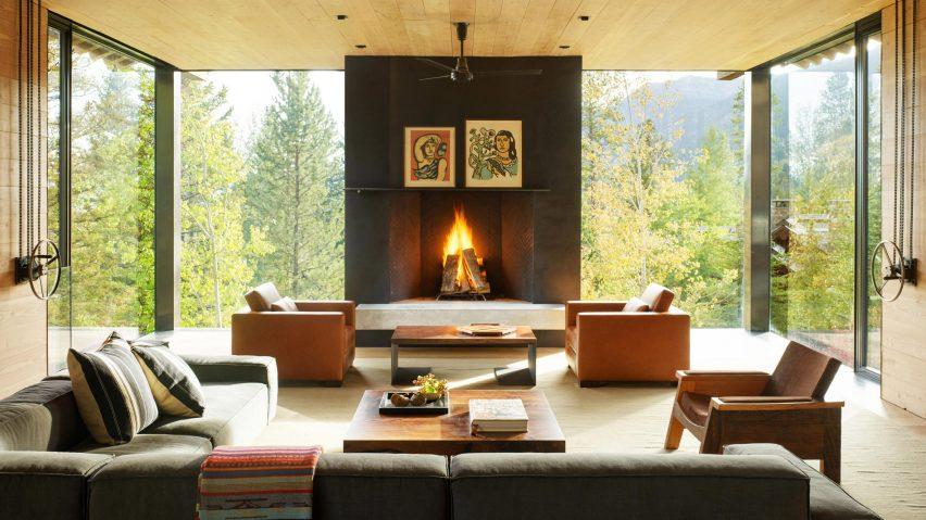Fireplace in Teton House, Wyoming