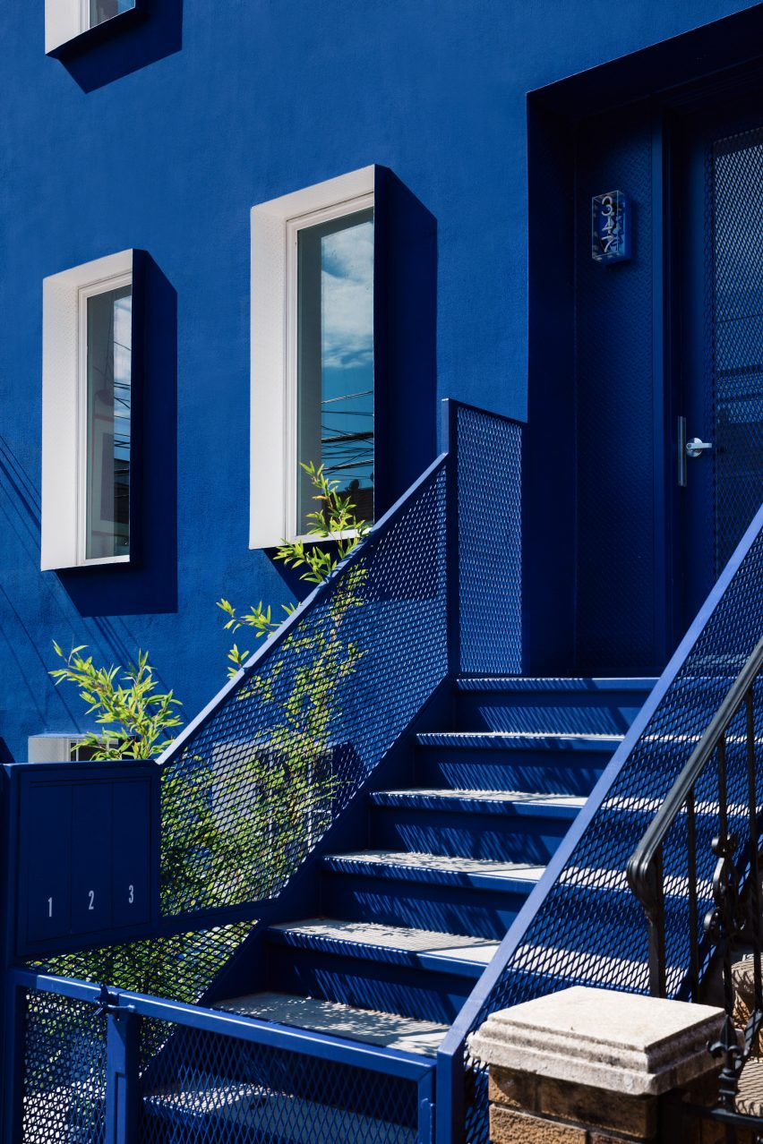 The house is monochrome blue
