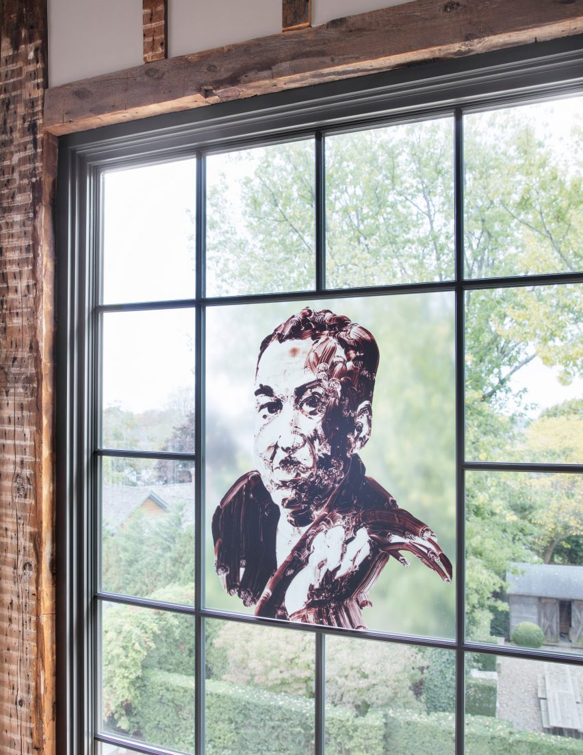 Window decals of church conversion by Skolnick Architecture and Design Partnership