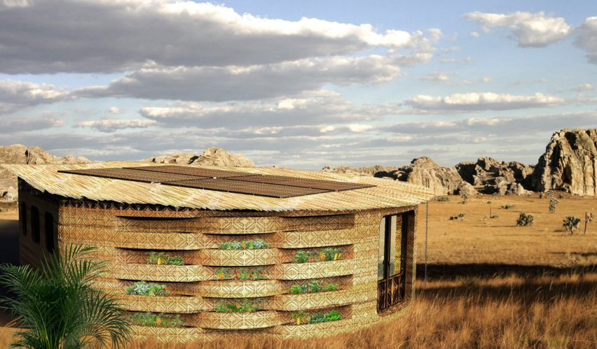 A vertical farm on the facade of a 3D-printed school