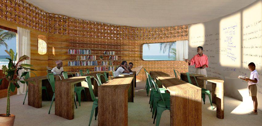 Inside a 3D-printed school in Madagascar