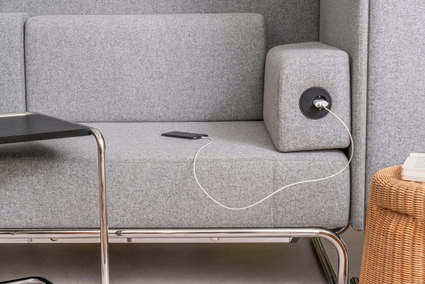 Power charging outlet in S 5000 Retreat by Studio Irvine for Thonet
