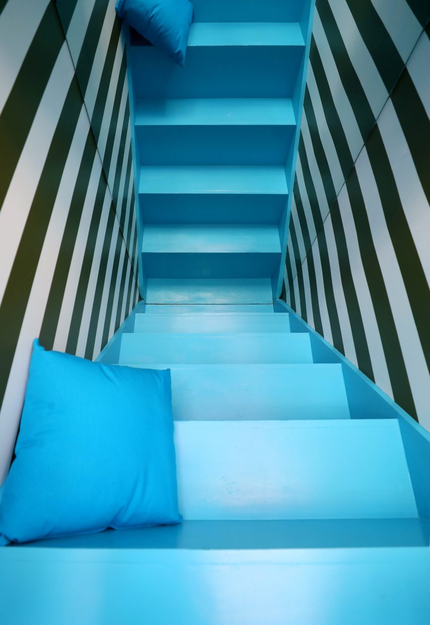 Details of what the designers describe as an Alice in Wonderland stairway