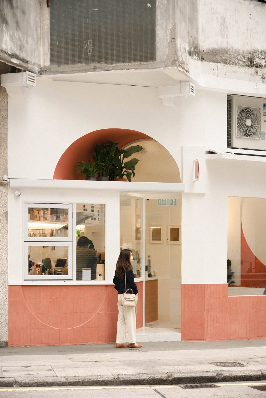 Exterior of cafe with terracotta tiles by Studio Etain Ho and Absence from Island