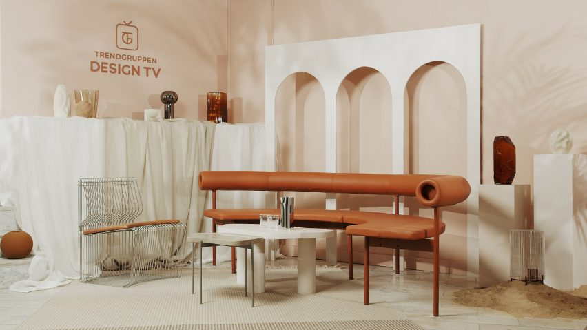 TV set design in warm terracotta and beige colours and a vault-shaped backdrop