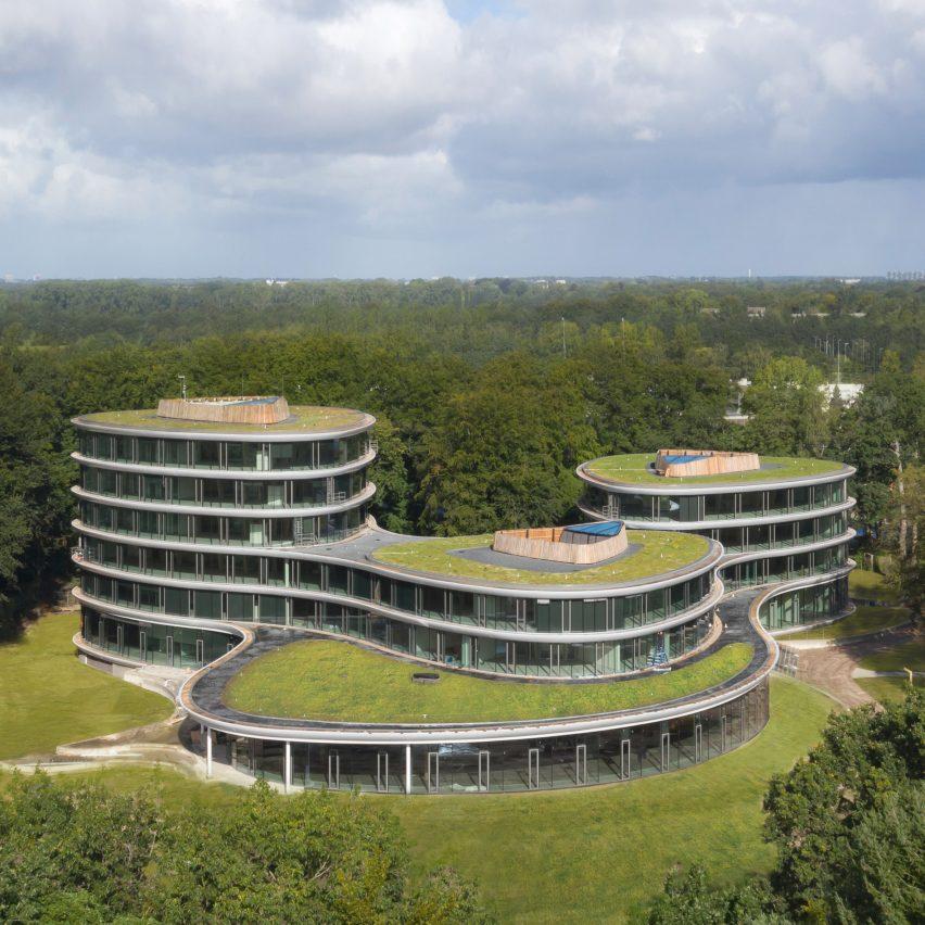 Triodos Bank is a reversible timber-framed office nestled in Dutch woodland