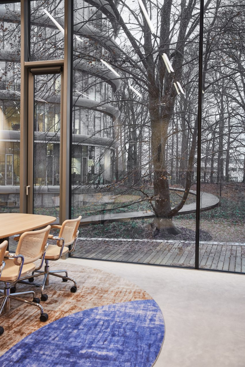 A glass-walled office