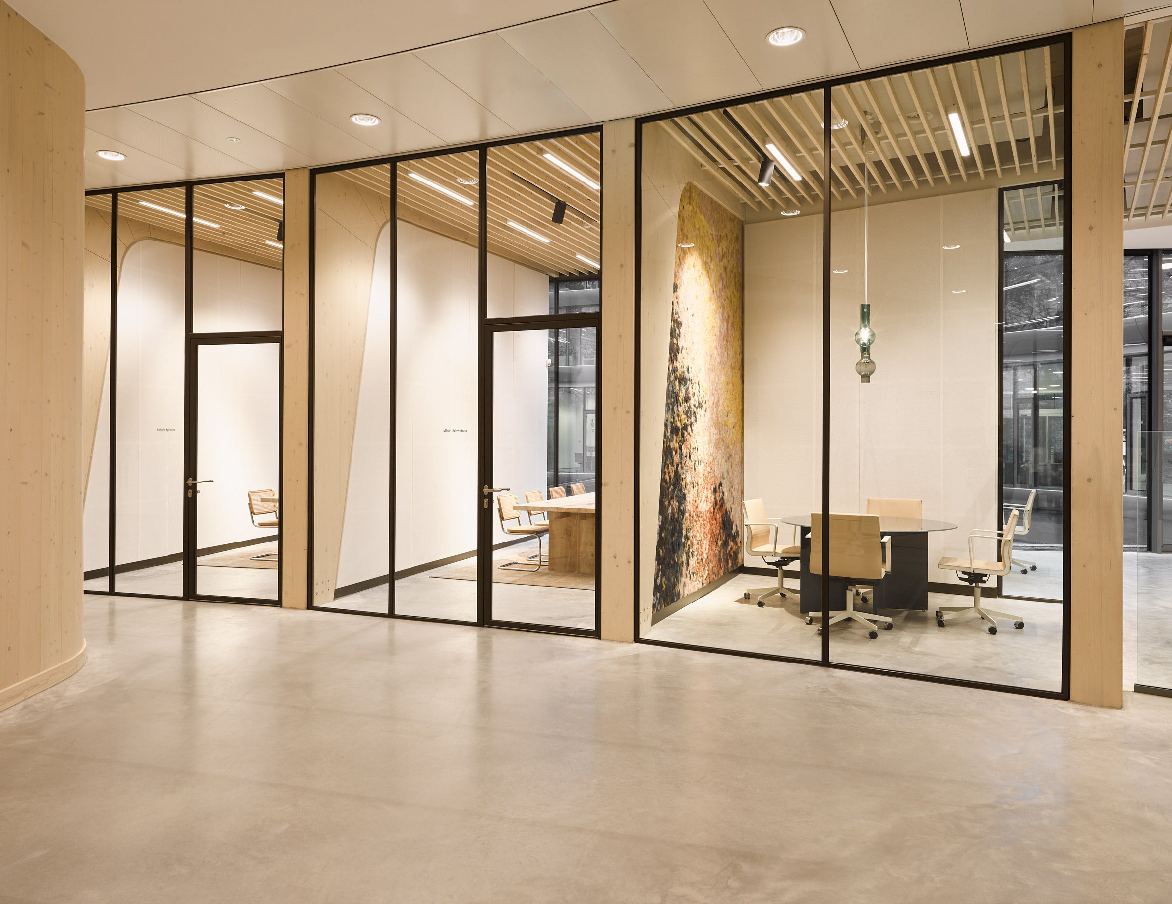Glass-walled meeting rooms
