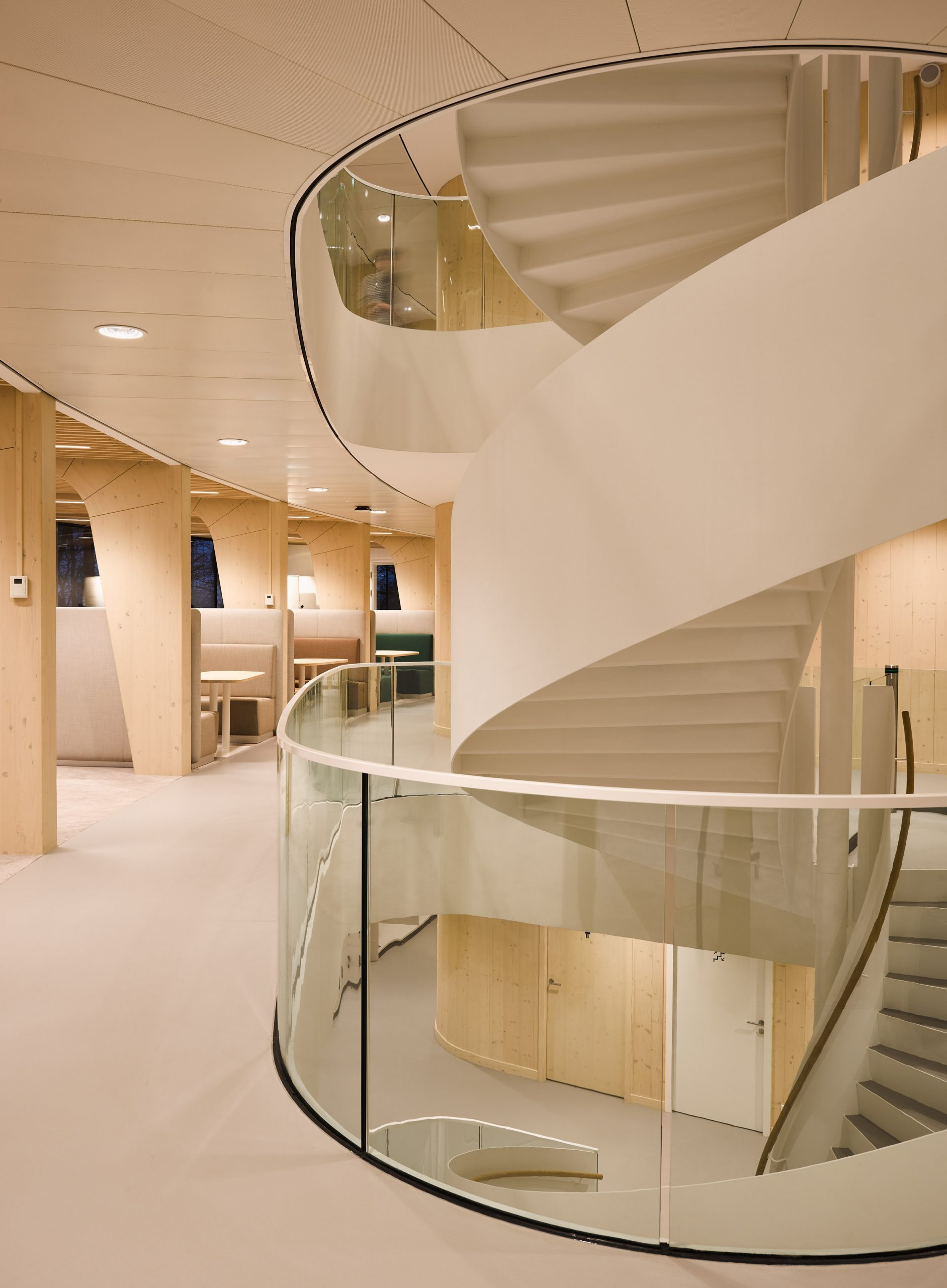 A white spiral staircase