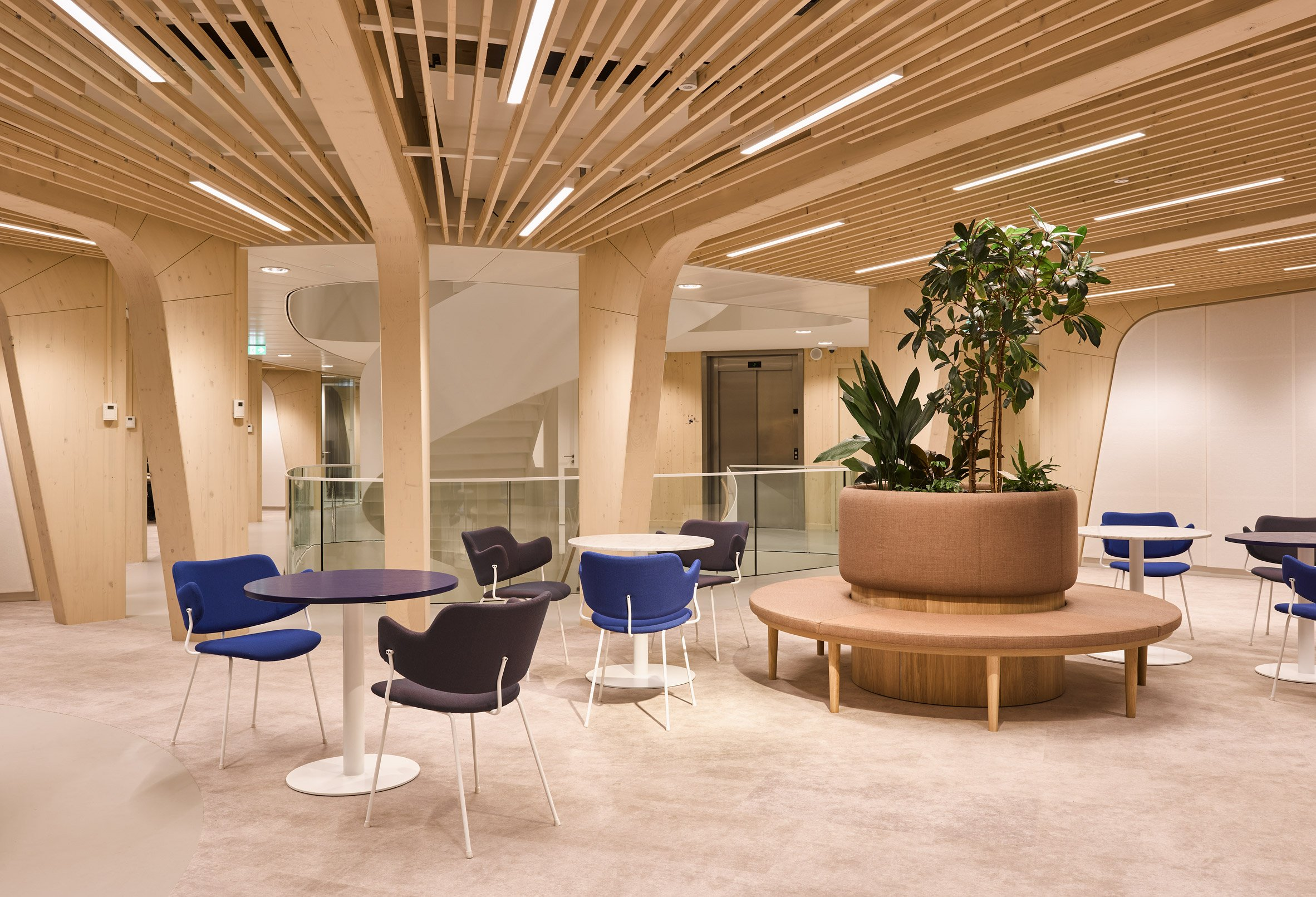 An office with an exposed-timber structure