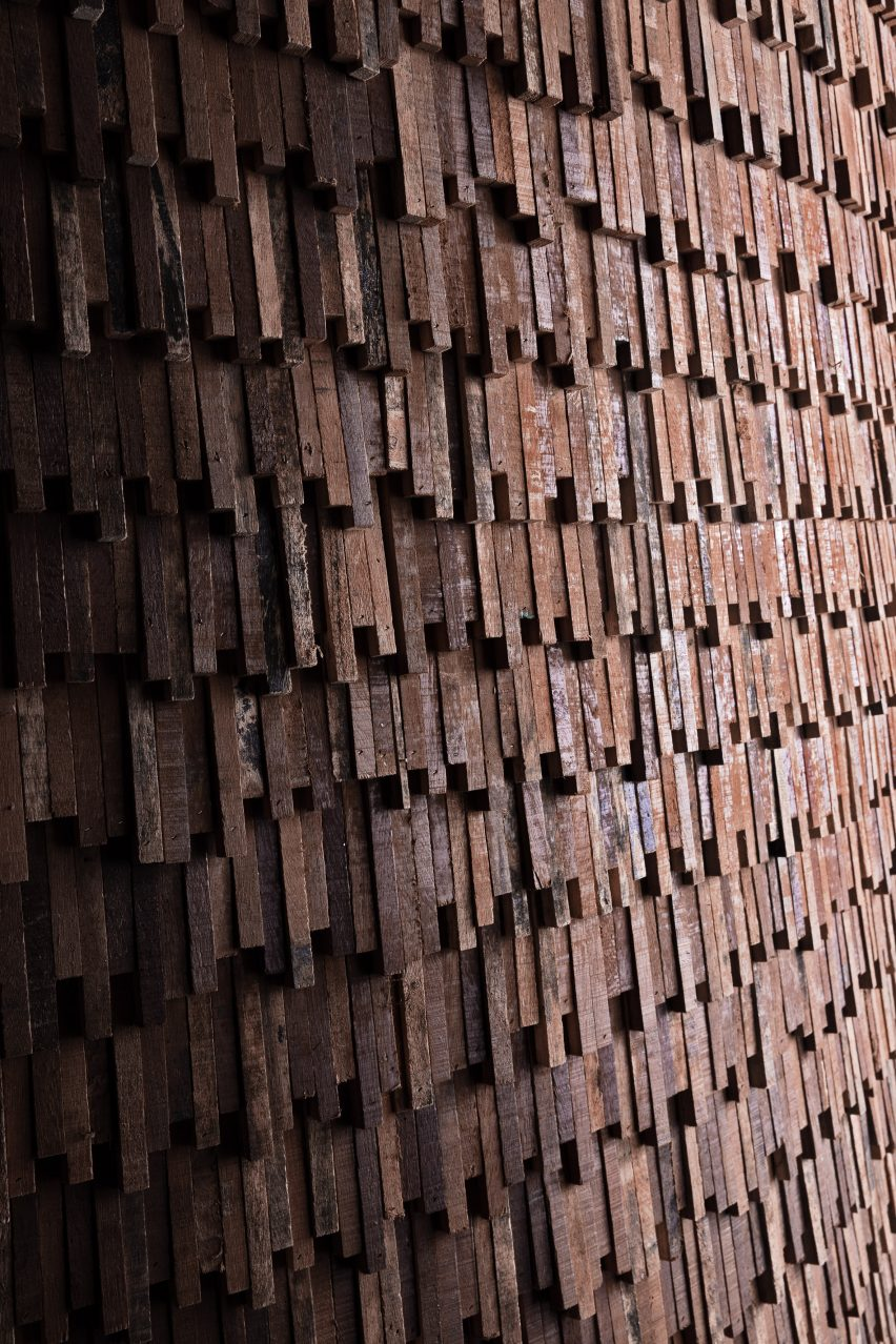 Reclaimed wooden scales of MUT Design pavilion