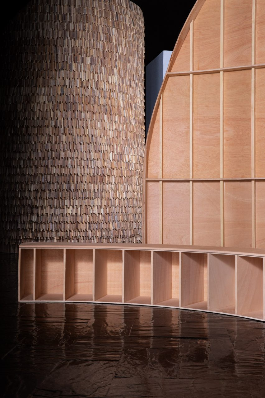 Interior, exterior and seating of a wooden exhibition design by MUT Design