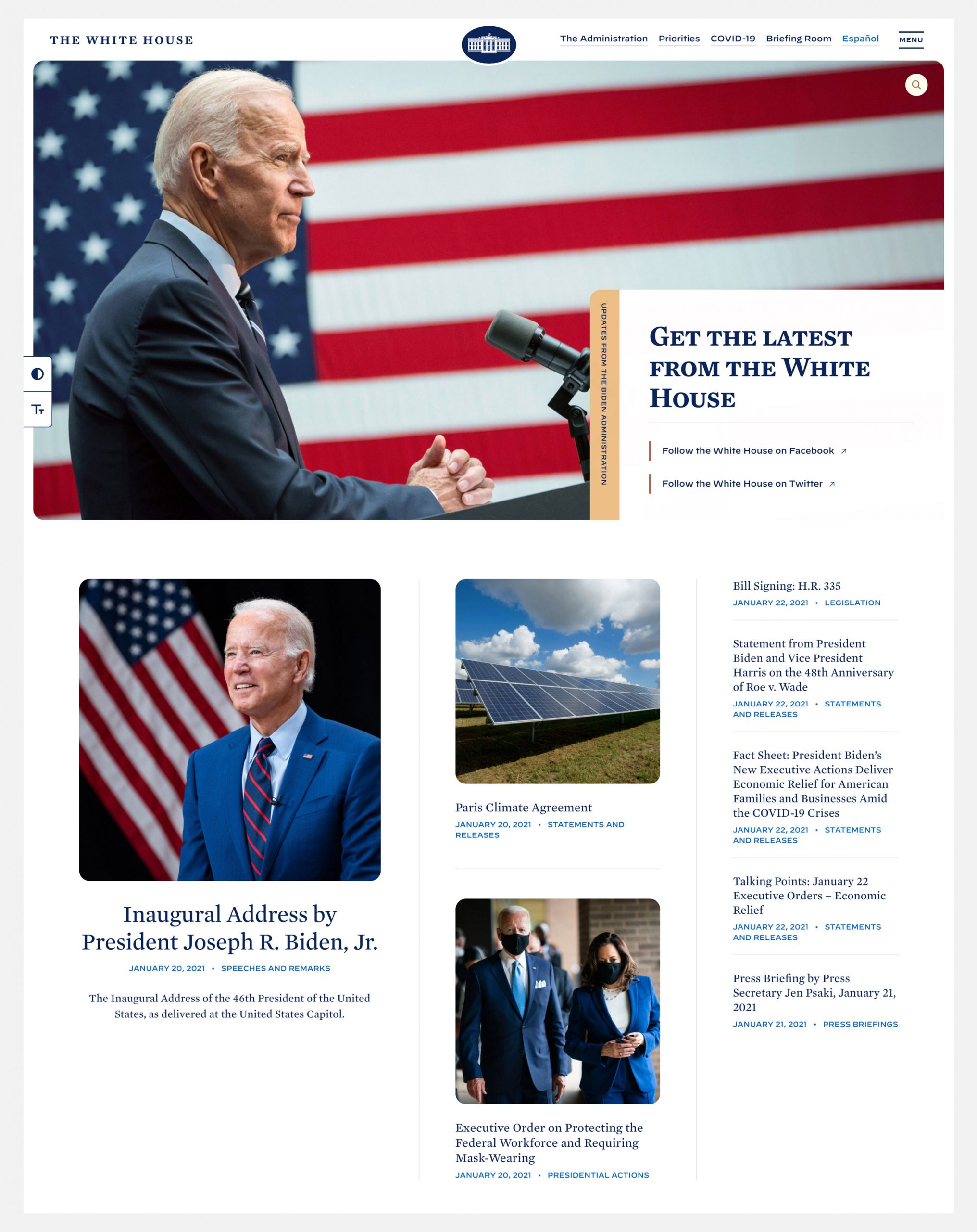 White House website design featuring the new logo