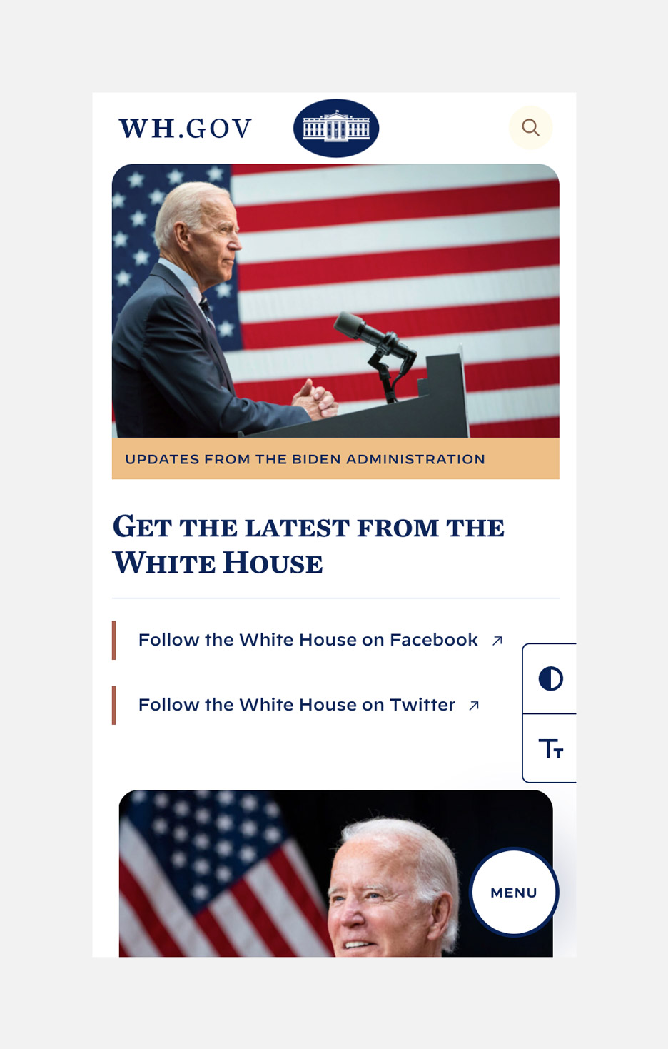 Mobile screen version of the White House rebrand