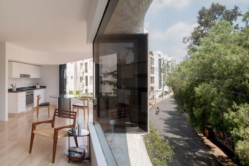 Interiors of apartment block in Mexico City