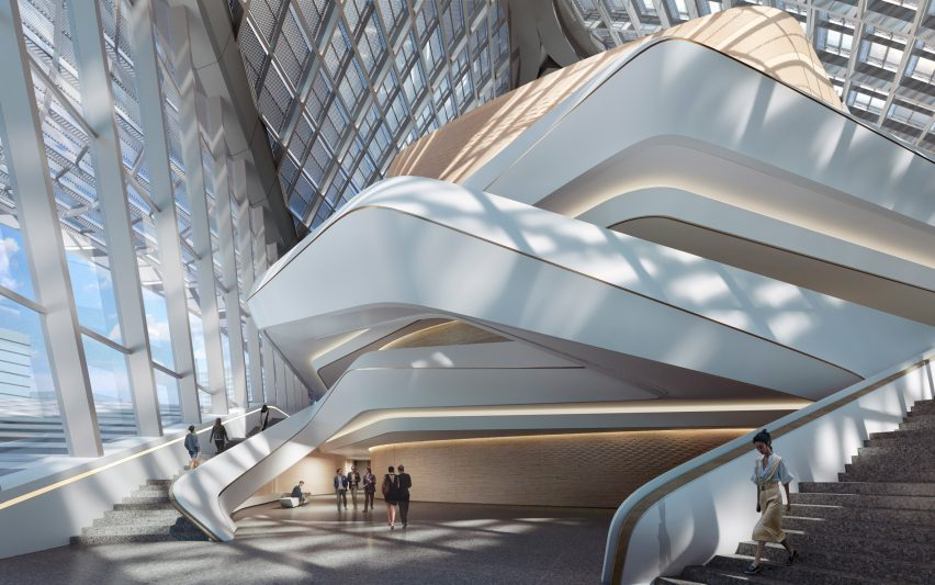 A folding staircase inside a Chinese cultural centre by Zaha Hadid Architects