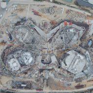 A construction photo of the Zhuhai Jinwan Civic Art Centre by Zaha Hadid Architects