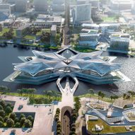 Zaha Hadid Architects reveals images of four-winged cultural centre in Zhuhai