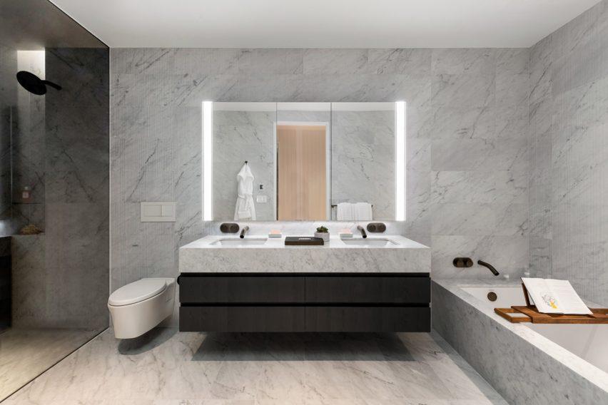 Bathroom in Adjaye Associates New York skyscraper