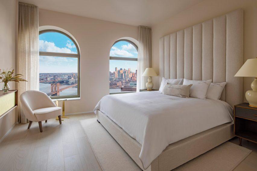 Main bedroom of model apartment in 130 William