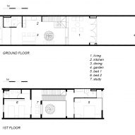 Floor plans of 2HIEN house in Vietnam by CTA