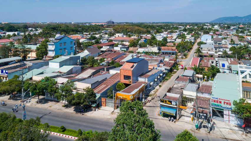 Aerial view of 2HIEN house in Vietnam by CTA
