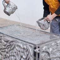 Water being poured on 300kg Beauty Bath by Frederik Nystrup-Larsen and Oliver Sundqvist in The Mindcraft Project exhibition