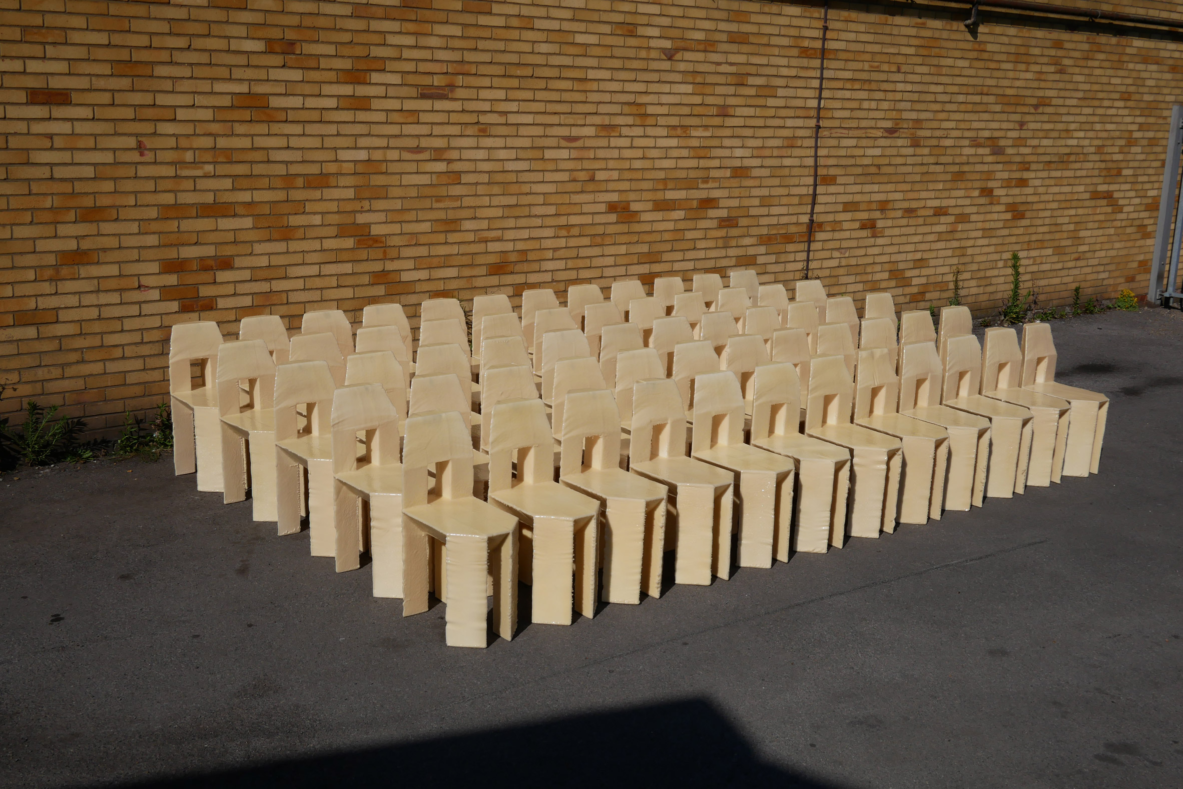 Lamb crafted the chairs over three days