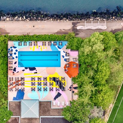 The Manhattan pool is painted in graphic shapes and patterns