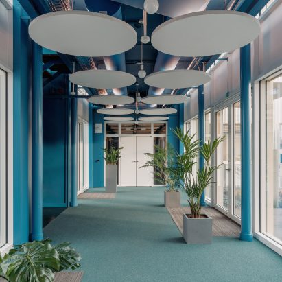 Circular acoustic ceiling panels