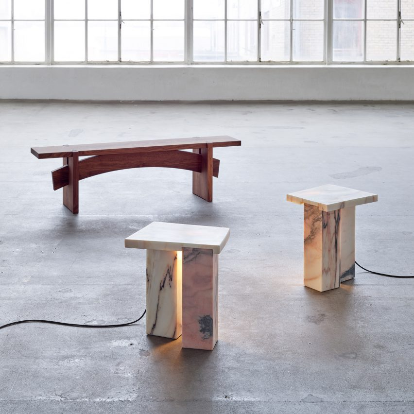 Bench 01 and Bedside Tables by Bahraini-Danish in the Mindcraft Project exhibition