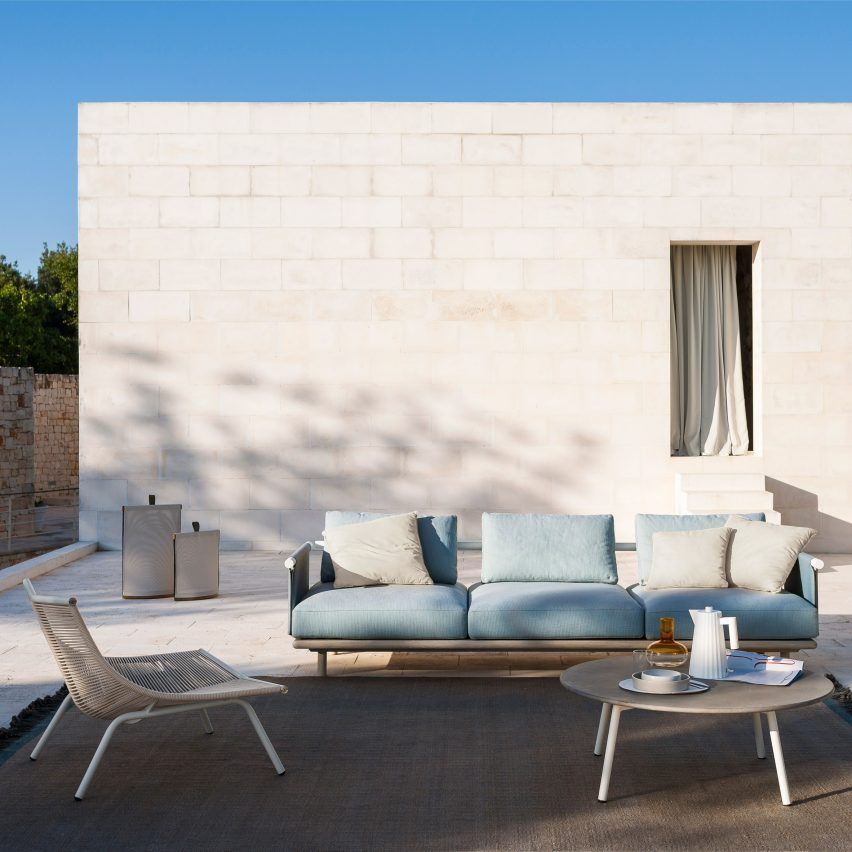 Eden sofa by Roda pictured outdoors