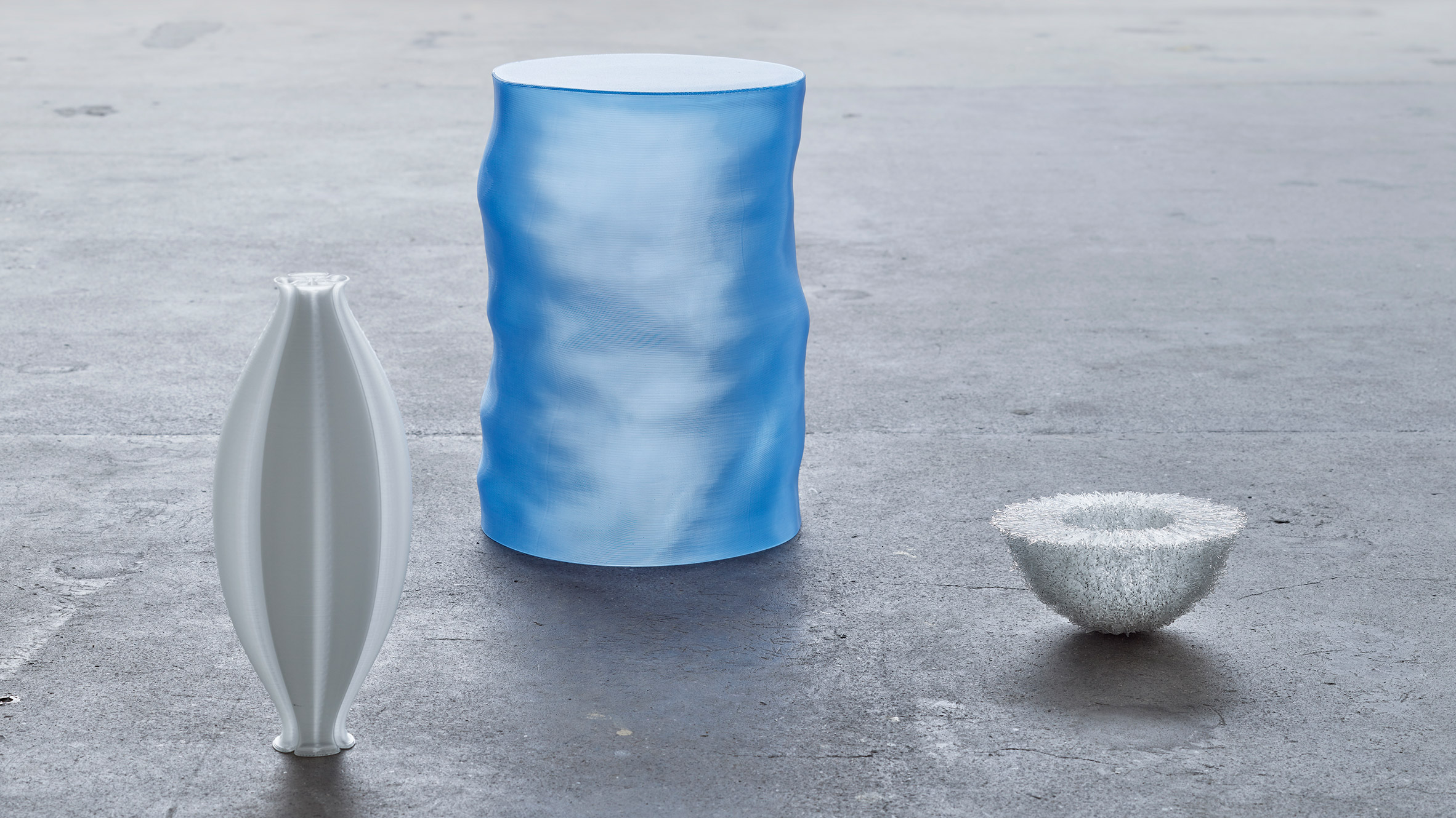 Ctenophora Vase, Morning Dip Side Table and Echinoidea Bowl by ninetyoneninetytwo for The Mindcraft Project 2021