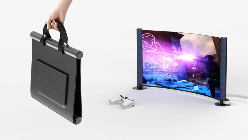Folio by Kevin Chiam carry case with flexible screen for Dezeen and LG Display's OLED Go! competition