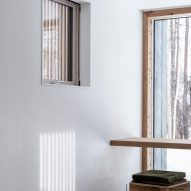 Smaller window with slatted shade screen