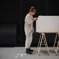 Stine Mikkelsen works in her studio