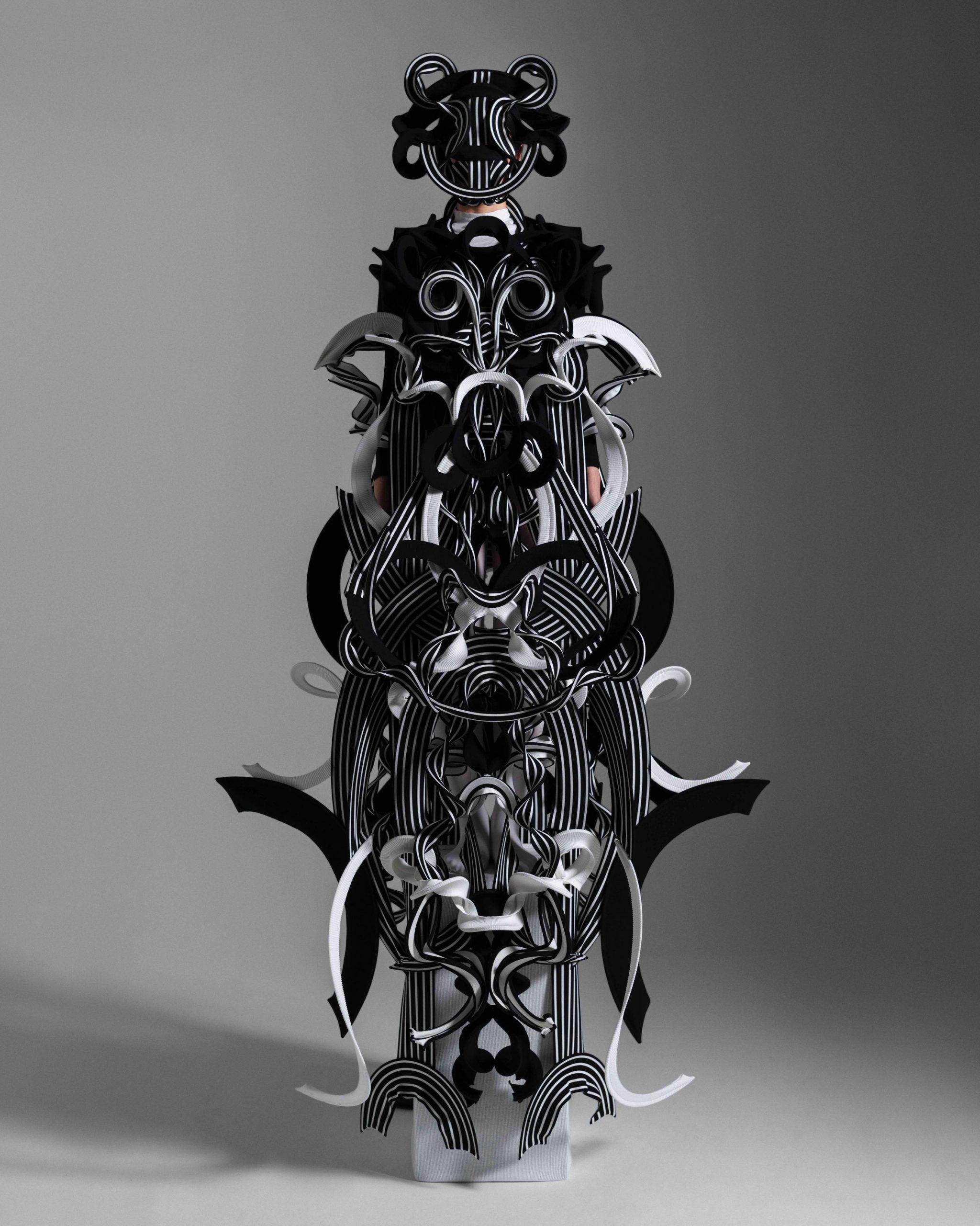 Sculptural materials create geometric couture