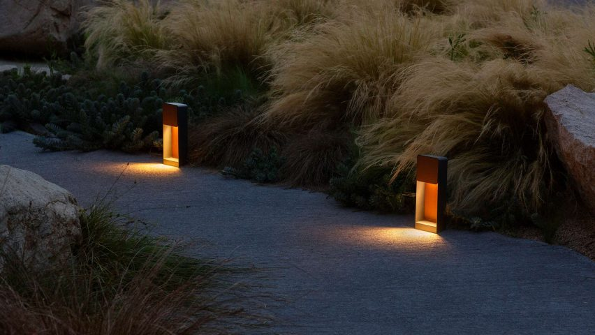 Lab outdoor lamp by Francesc Rife for Marset on a pathway