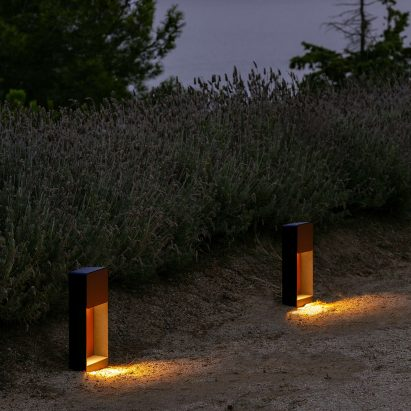 Lab outdoor lamp by Francesc Rife for Marset illuminates a path