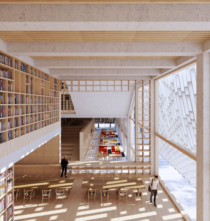 The interior will have wood finishes by Mecanoo