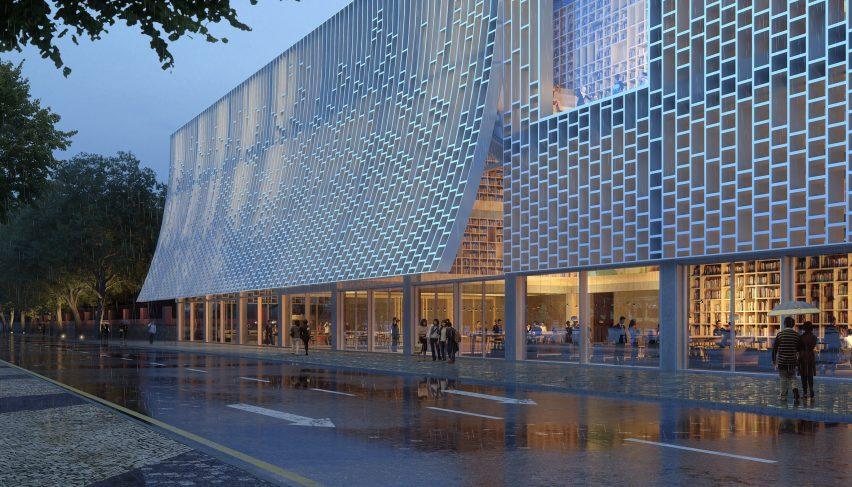The facade is gridded and reflects bookcases by Mecanoo