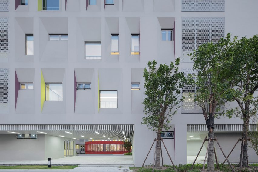 Skewed walls frame asymmetric windows