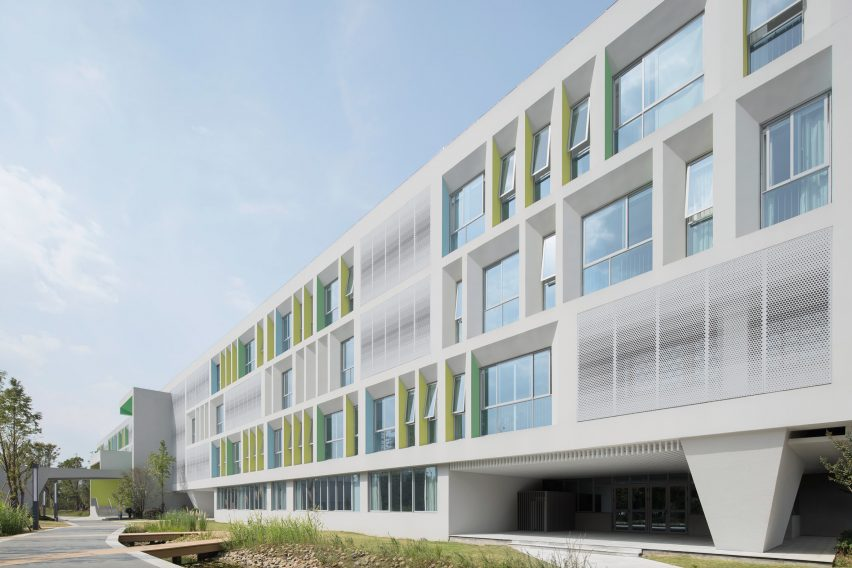 Building has a colourful and three dimensional facade