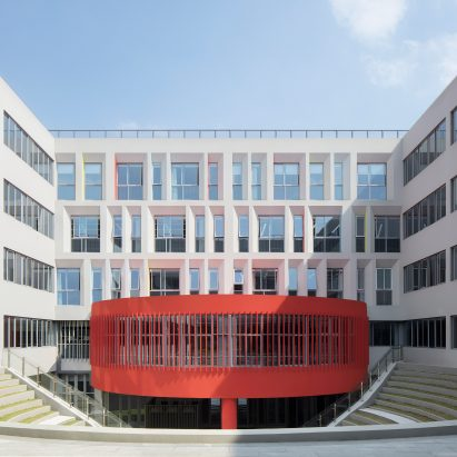 Red form in a courtyard