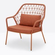 Lounge chair with orange finish