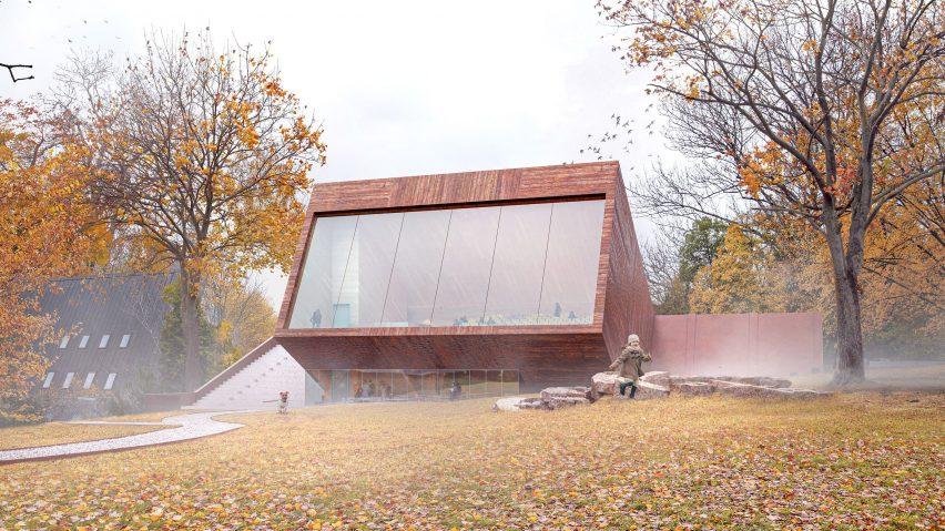 Wooden clad structure by Snøhetta