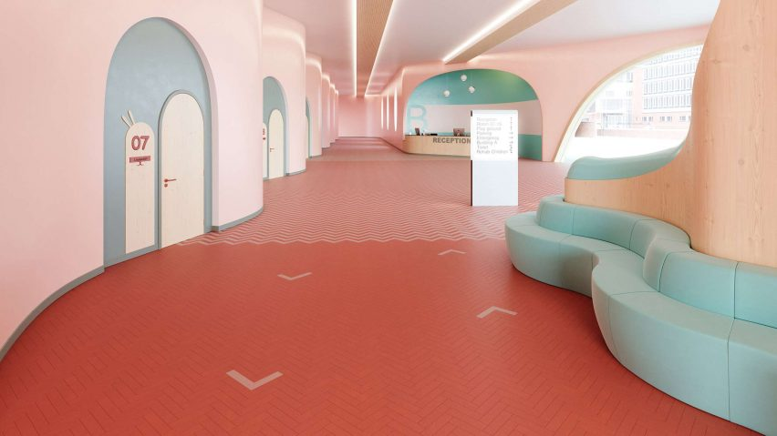 Studio Moods flooring by IVC Commercial in a pink waiting room
